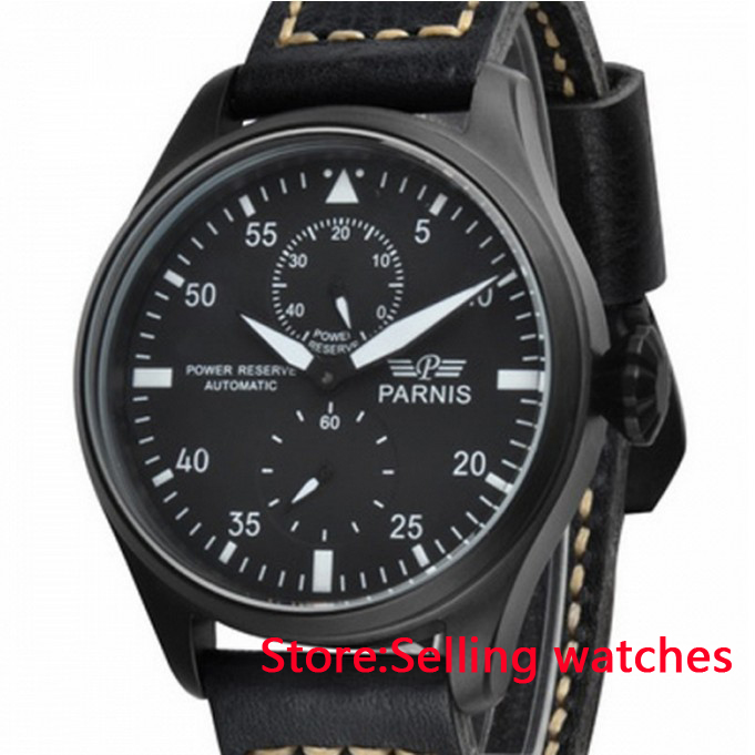 47mm Parnis Power Reserve Black Dial Orange Marks Automatic Mens Watch hot sale 46mm parnis black dial power reserve white marks automatic men wrist watch