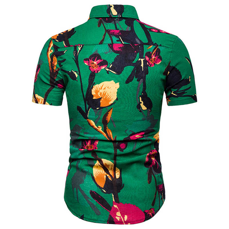 Мужская Летняя мода короткий рукав цветочный принт Гавайская пляжная рубашка 2019 Повседневная тонкая на кнопках вниз тропическая Мужская рубашка навыпуск с ярким рисунком Chemise