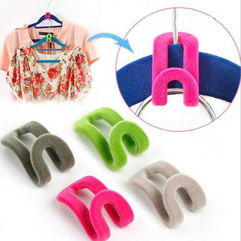 10Pcs/Lot Mini Flocking Hanger Hook Clothes Hanger Easy Hook Closet Organizer Wardrobe Anti-Clip Space Saver Holder Random Color