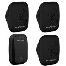 Wolf-Guard Black Wireless Home Security Добро пожаловать Self-Power Водонепроницаемый дверной звонок Лучший!