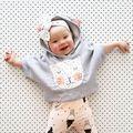 Ins caliente-venta 2016 de los niños ropa de la capa del párrafo gatito sudadera con capucha de lana sudaderas ROPA de BEBÉ NIÑA VESTIDOS