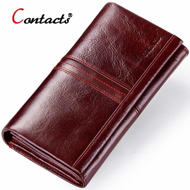 9d95472b51c0 Контакта длинный красный кожаный кошелек женский натуральная кожа кошелёк  женский бумажник женщины клатч женские кошельки из