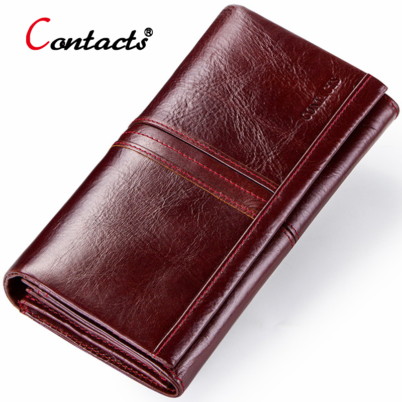 Contact's Genuine Leather Wallet Women Wallet Credit Card Holder Female Purse Organizer Walet Women Clutch Bag Red Green Long
