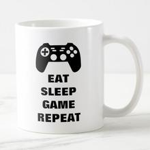 Geek Funny Eat Sleep Game Repeat Video Game Controller Gaming Coffee Mug Tea Cup for Gamer Novelty Boyfriend Daddy Birthday Gift