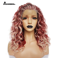 Anogol Pink Platinum Blonde High Temperature Fiber Kanekalon Wigs Long Natural Wave Free Part Synthetic Lace Front futura Wig