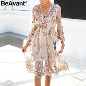 Image 4 - BeAvant 2018 new gold sequin embroidery summer dress Women deep v neck mesh sexy dress Elegant party dress vestido de festa