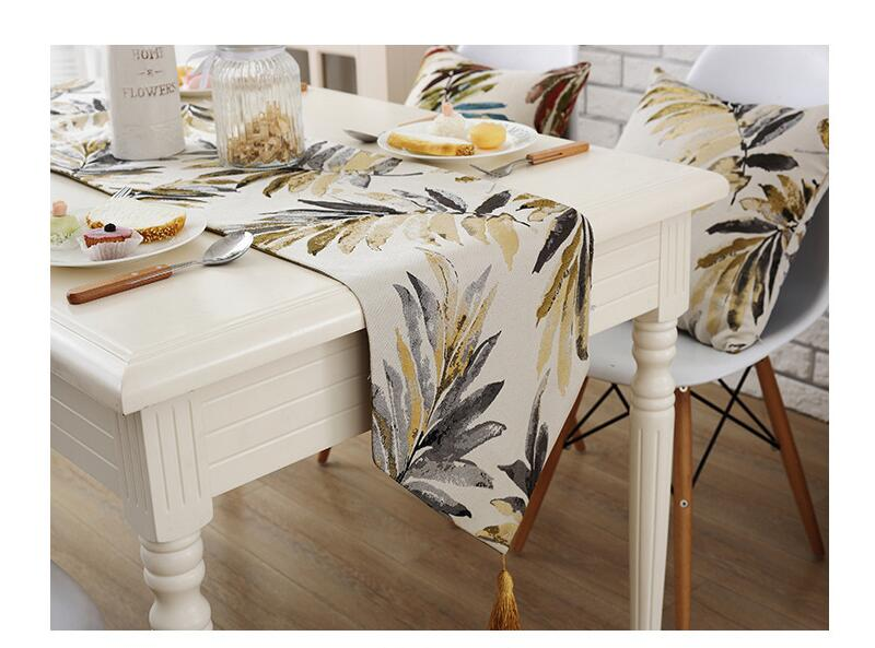 Flora Leaf Polyester Hotel Restaurant Table Runner Cloth American style table runners modern