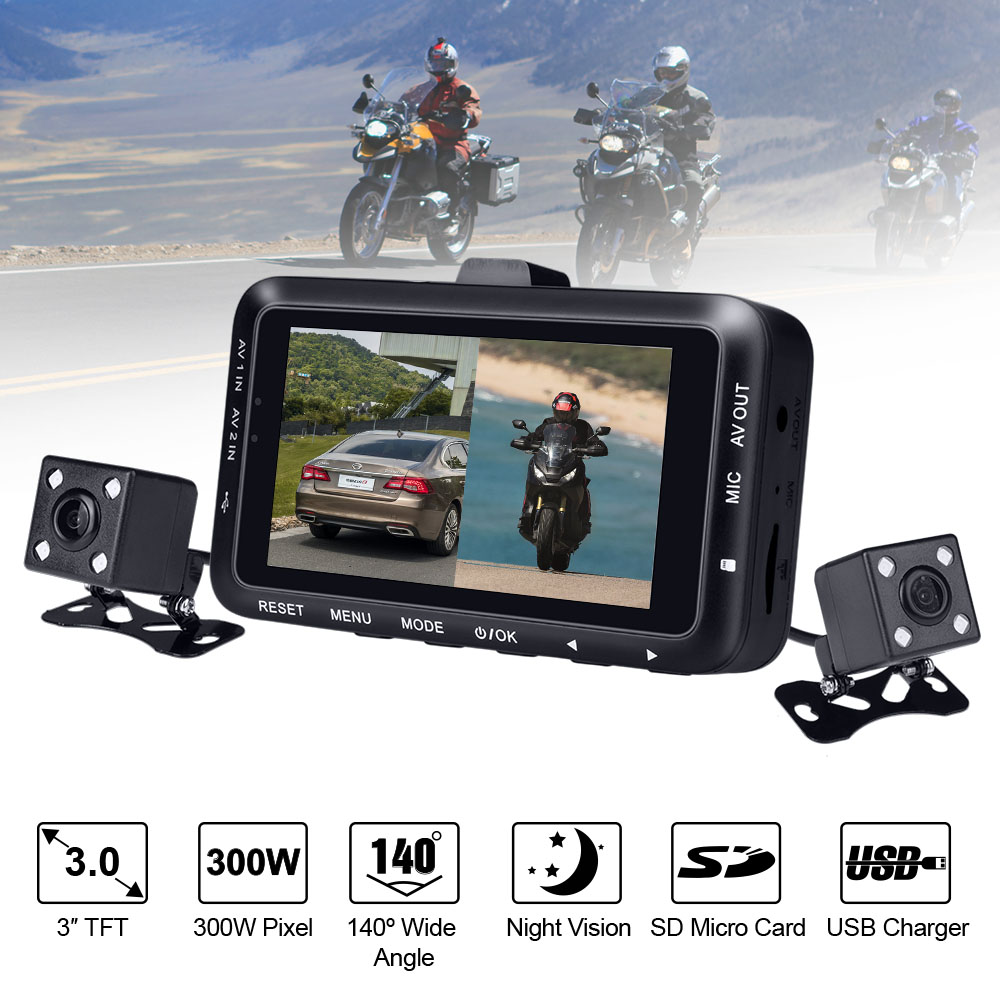 3 inch LCD Motorcycle DVR motorbike Video Recorder Dual Lens Cameras Dash Cam Night Vision 140 Degree Wide Angle dual lens car rearview mirror dvr video recorder camcorder night vision 4 3 inch allwinner a10 2x140 degree wide angle