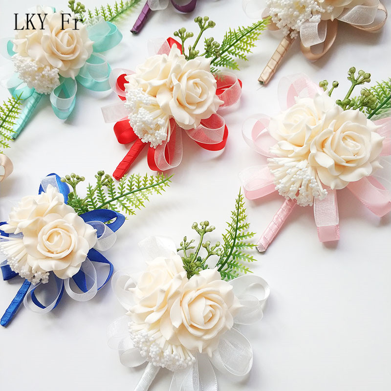 LKY Fr Boutonniere Pin Flowers Groomsmen Corsage Wedding Groom Boutonniere Buttonhole Wedding Witness Corsages Prom Accessories