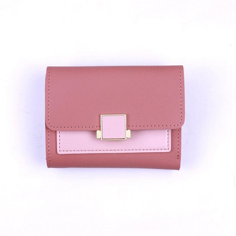 ONLVAN Ny mode kvinnor kort plånbok färgblock Ms Card Slim Liten PU - Plånböcker - Foto 4