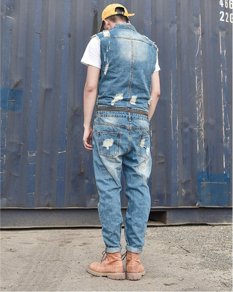Removable Cowboy Siamese Trousers Summer Tide Men s Bodywork Overalls Work Clothes Holes Nine Pants male cowboy vest ! M-2XL