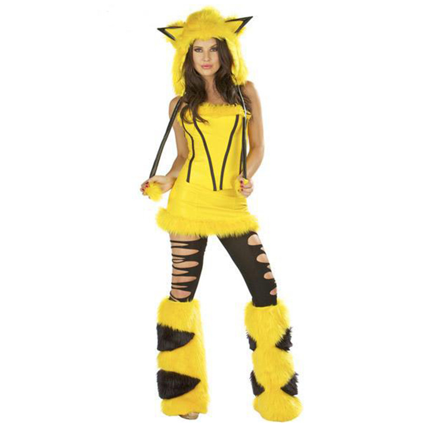 game suits yellow pikachu pokemon cosplay halloween christmas party costume adult animal fantasia queen dress performance on aliexpresscom alibaba group - Pikachu Halloween Costume Women