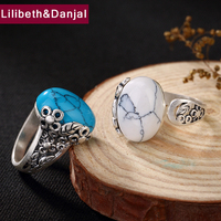 2019 Adjustable Ring 100% Real 925 Sterling Silver Jewelry Women Mosaic Turquoise Hollow Flower leaves Opening Wedding Ring YR4