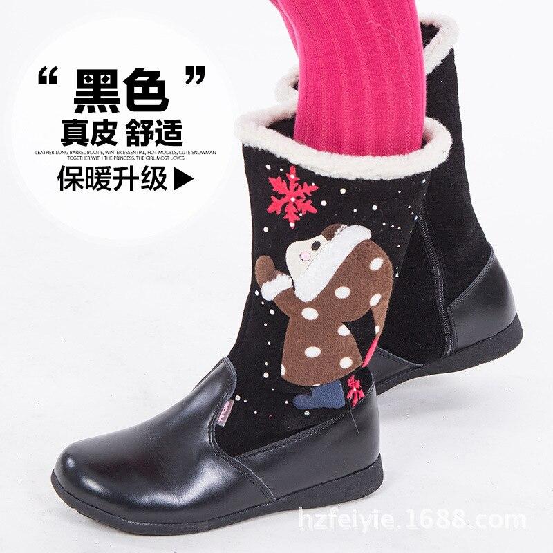 Bottes en cuir de haute qualité pour enfants du père noël, chaussures de bébé confortables antidérapantes super chaudes bottes de fille - 3