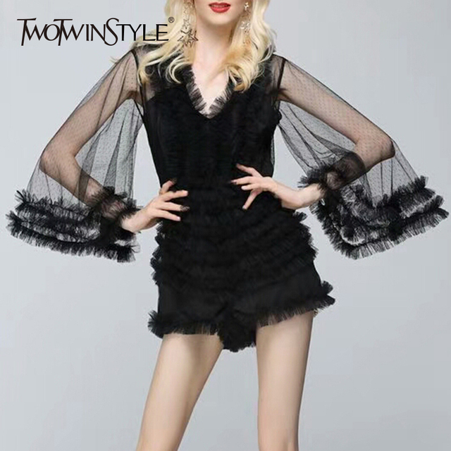 TWOTWINSTYLE Sexy Mesh Playsuits Female V Neck Flare Sleeve High Waist Ruffles Patchwork Backless Mini Trousers Summer Tide New