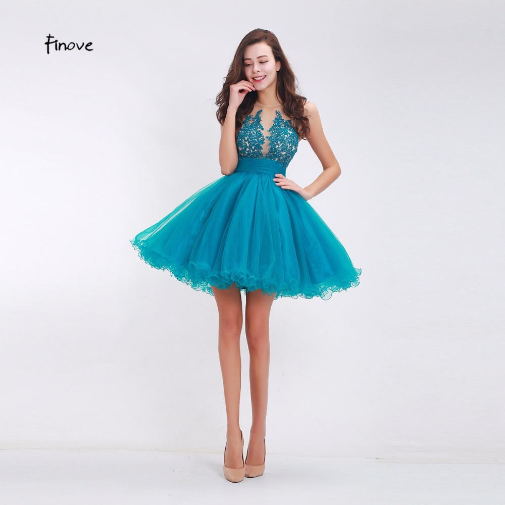 Finove 2018 New Short  A Line Halter Backless Tulle Appliques Formal Prom Gown Sweet Cocktail Dresses Women Homecoming Dresses