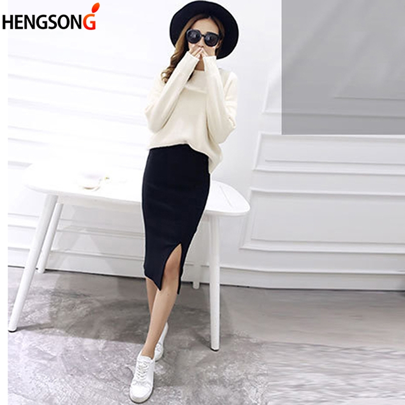 2018 New Spring Summer Women Bodycon Skirts Both Sides Split Sexy Ladies Skirts Female Casual Pencil Skirts 6 Colors
