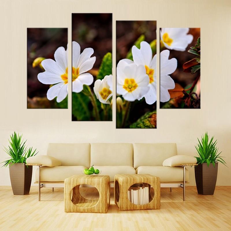 4 panel HD ağ çiçəklər bitki rəsm kətan rəsm sənəti çap - Ev dekoru - Fotoqrafiya 4