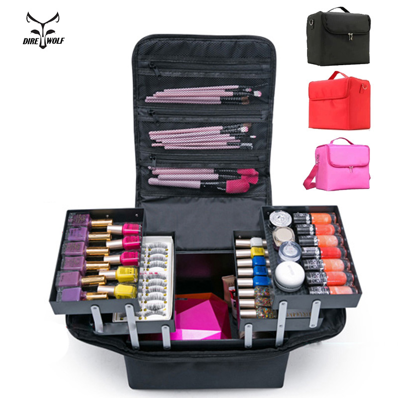 Fashion Women Makeup Organizer Large Capacity Multilayer Clapboard Cosmetic Bag Case Beauty Salon Tattoos Nail Art Tool Bin(China)