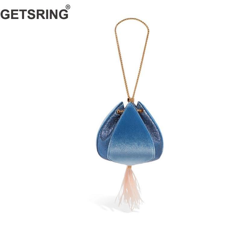 GETSRING Women Bag Women Handbags Evening Party Bags For Women 2018 New Velvet Feather Stitching Pink