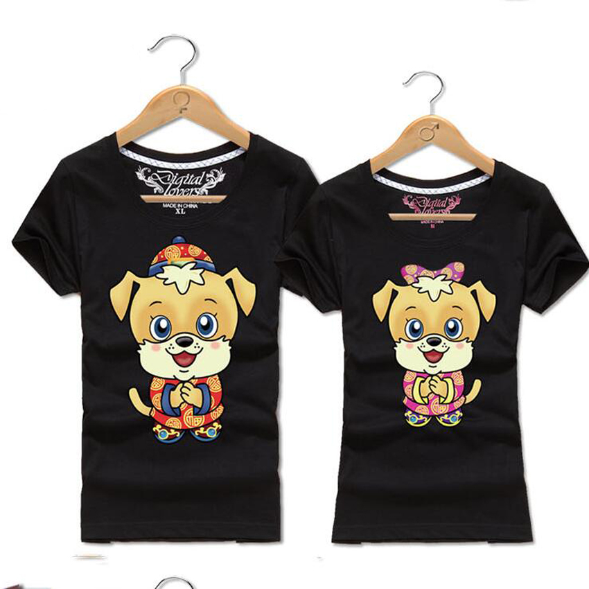 Summer Tops 2018 Cute Cartoon Dog Print T-Shirt Female Male O-Neck Short Sleeve Funny T Shirts Couple Clothes Matching Outfits