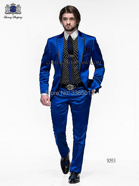 Royal Blue Wedding Suits For Men 2018 New Fashion Shiny Satin Prom Party Wear Suit