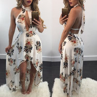 0ff Shoulder Robe Sexy Maxi Summer Dress Women Backless Printed Floral White Dresses Bodycon Club Gothic Dress Halter Vestidos