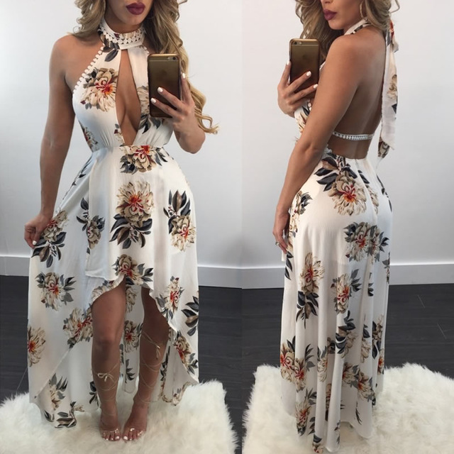 625380cfaa17 0ff Shoulder Robe Sexy Maxi Summer Dress Women Backless Printed Floral  White Dresses Bodycon Club Gothic
