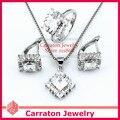 Carraton SXF3009 Белый Позолоченный CZ Алмаз Ромб Shaped Ясно Камень Ювелирные Изделия Наборы