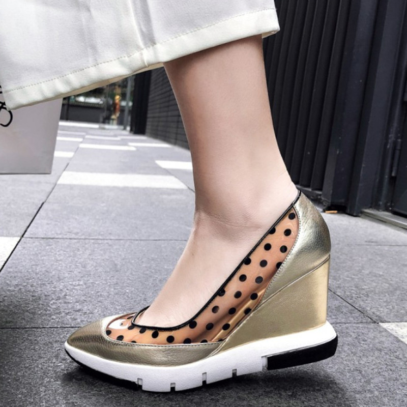 Transparent Shoes Platform Women Pumps High-Heels Pointed-Toe Slip-On Spring Casual
