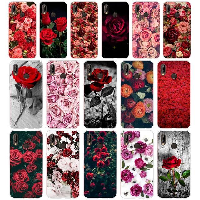 12 יפה גן אדום ורדים פרחים עבור huawei P20 לייט מקרה כיסוי רך סיליקון TPU כיסוי מגן עבור huawei p20 לייט מקרה