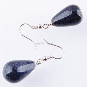 Image 2 - WOJIAER Natürliche Blau Sand Edelstein Stein Teardrop Perlen Baumeln Ohrringe Paar Für Frauen Schmuck PR3158