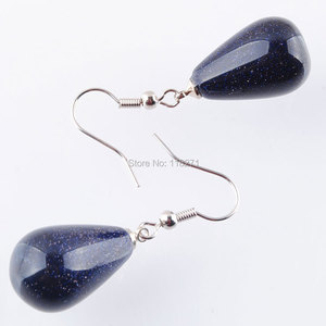 Image 2 - WOJIAER Natural Blue Sand Gem Stone Teardrop Beads Dangle Earrings Pair For Women Jewelry PR3158