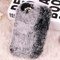 Luxury Real Rabbit Fur Case For Samsung Galaxy S4 Mini I9190 S5 Mini G800 Rhinestone Case