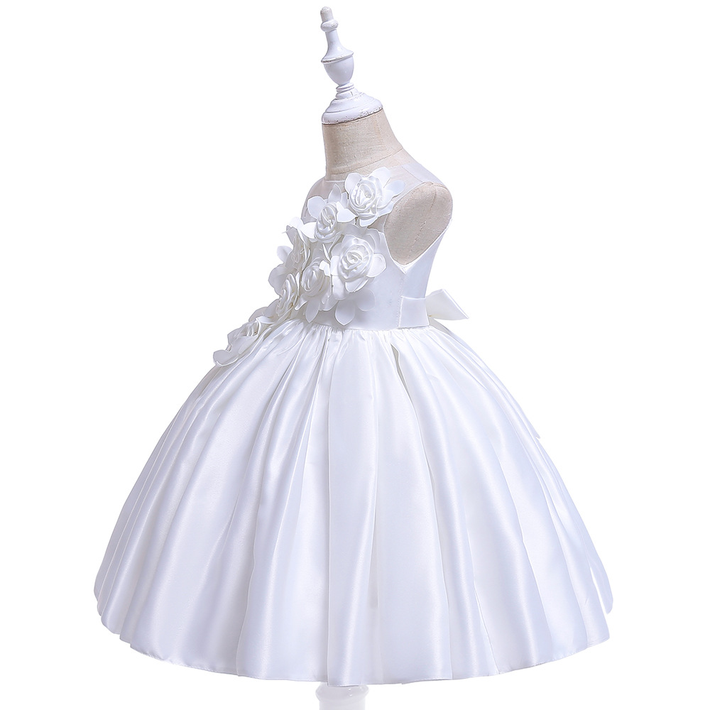 Sleeveless O-Neck Bow Pattern Sashes Lace Tiered Kids Princess   Flower     Girls     Dress   Pageant Party 2019