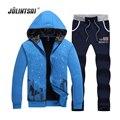 Jolintsai Sportwear Men Hoodies&Sweatershirts+Pants Tracksuit Men 3XL Sweat Suits Men Cardigan Jacket Set Moleton Masculino