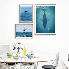 Shark Nordic Poster Blue Seawater Art Print Scenery Wall Art Canvas Painting Sea Posters Wall Pictures For Living Room Unframed