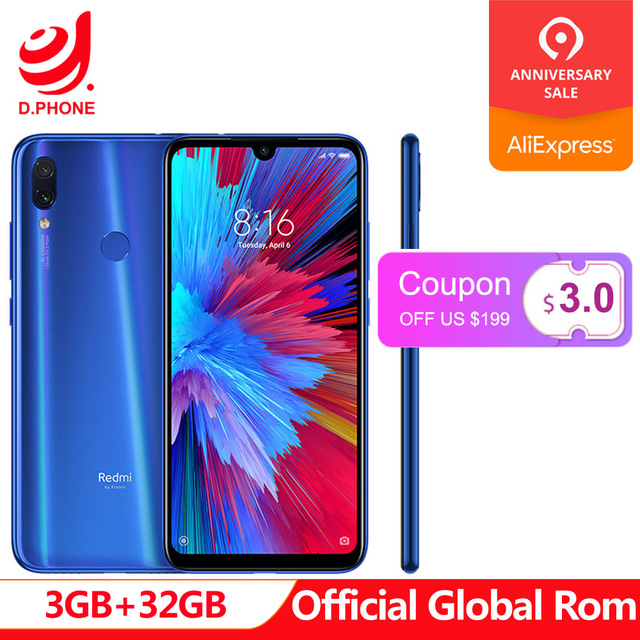 "Official Global Rom Xiaomi Redmi Note 7 3GB RAM 32GB ROM Snapdragon 660 Octa Core 6.3"" FHD+ 48MP Dual Camera 4000mAh Phone"