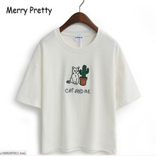 Korean style tee kawaii cat embroidery