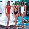 Sexy Trajes de Baño Nuevo Trikinis Para Las Mujeres traje de Baño Trikini Cross Wrap Negro Monos Blancos de Alta Corte de Una Pieza de Trajes de Baño