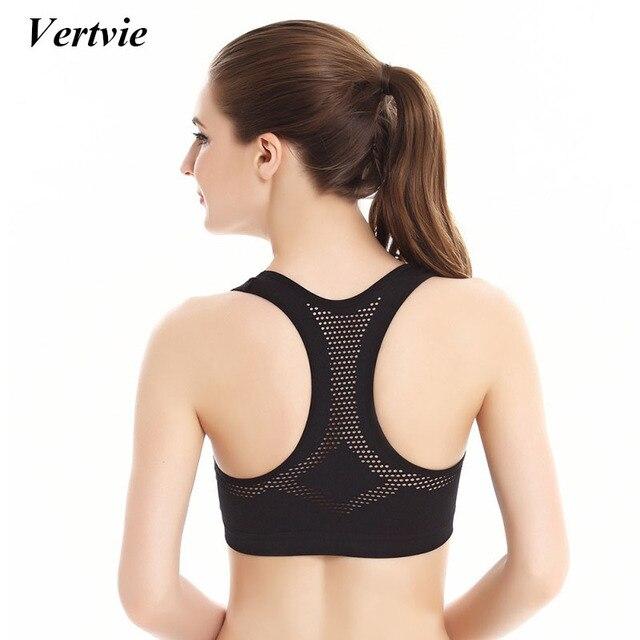 523f902dc0 Vertvie Sexy Hollow Mesh Women Sports Bra Running Fitness Top Push Up Yoga  Bras Outdoor Jogging Gym Clothing
