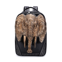 Fashion New Arrival 3D Elephant Design PU Leather Backpacks Vintage Rock Women Bags Rivet Computer Bags