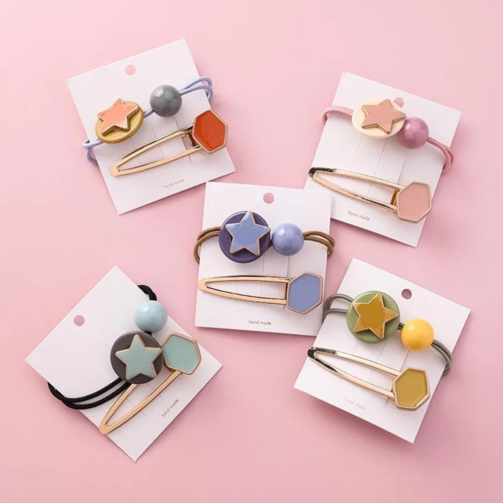 2019 New 2PCS Sweet Candy Color Scrunchie Hair Clip Set For Children Badge Star Elastic Bands Girls Rubber Bands Hair Accessory in Hair Accessories from Mother Kids