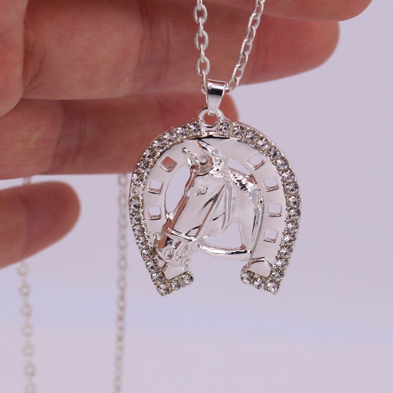 hzew hot sale Horseshoe crystal and horse head pendant necklace hot sale horse necklaces