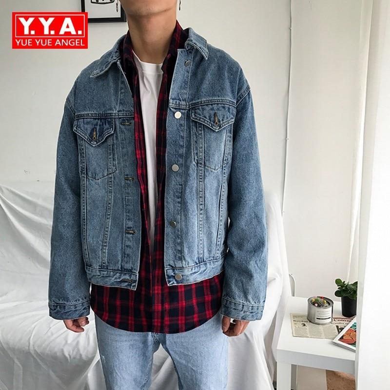 Men Wear 2018 New Fashion Mans Jeans Jacket Coat Loose Fit Patchwork Preppy Style College Jacket Denim Coat Jaqueta Masculina