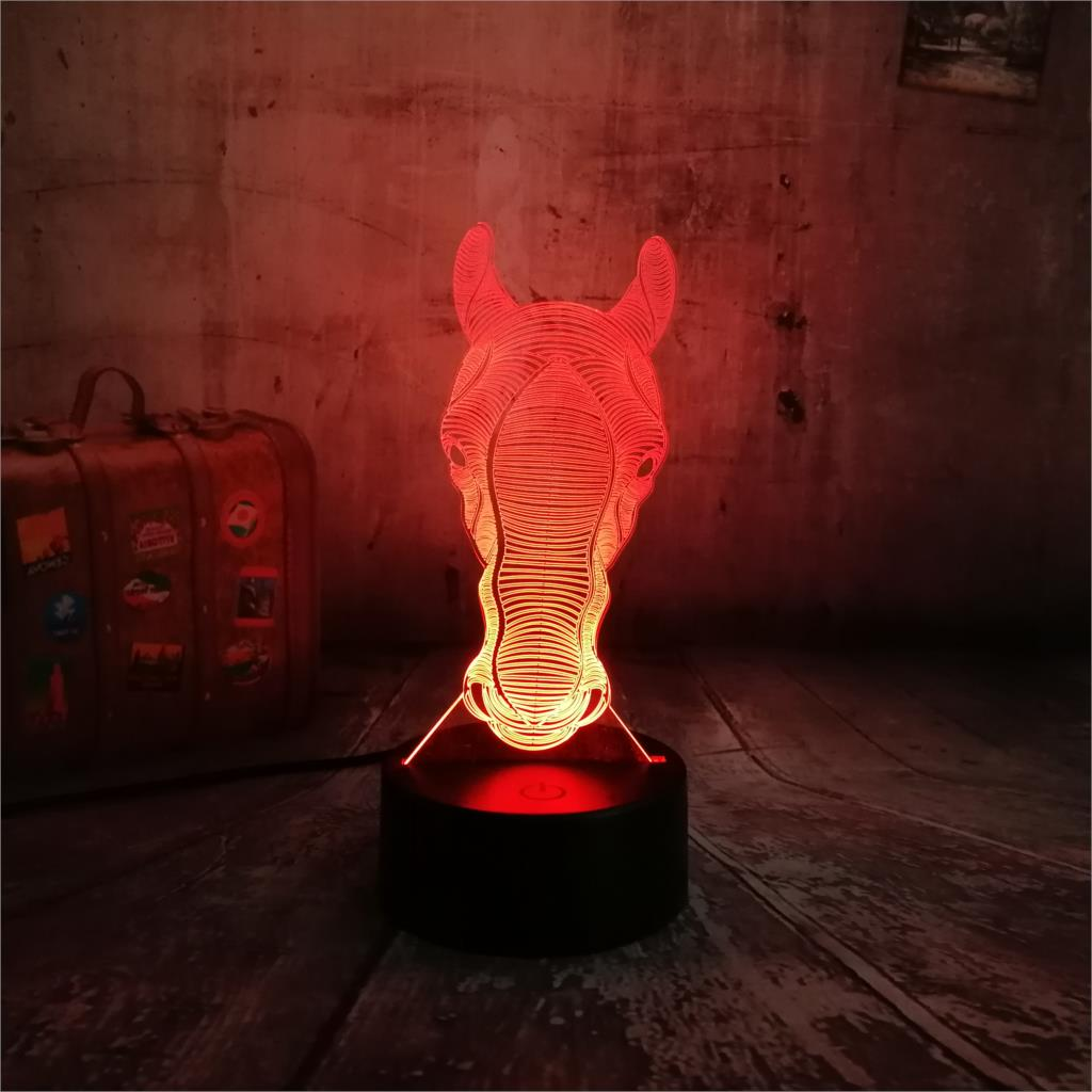 3D Lamp 7 Colors Change Baby Kid Night Light Lighting Animal Little Horse Head Decoration Table Projection Luminaria LED Lamp