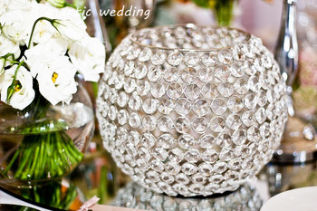 Crystal Beaded Round Candle Holder For Wedding Decoration Event Products Party Decorations