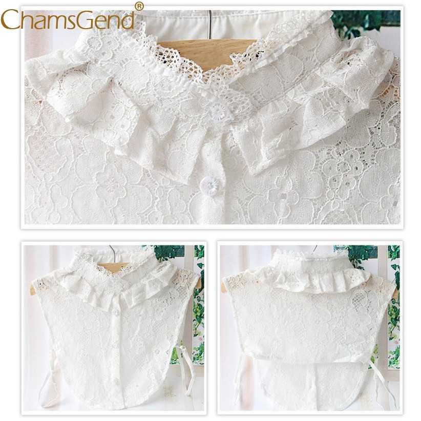 우아한 여성 프릴 레이스 터틀넥 로얄 분리형 칼라 꽃 레이스 싱글 브레스트 블라우스 셔츠 거짓 가짜 칼라 90514