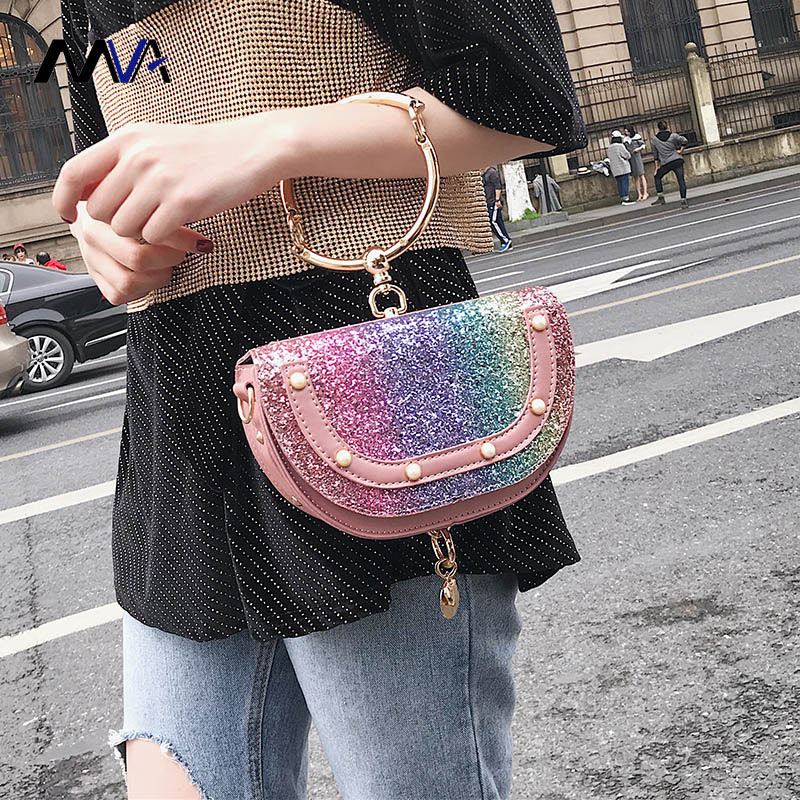 2018 New Women Sequined Oval Handbags Women Shoulder Crossbody Bag Female Messenger Bags Ladies Mini Clutch Purse Retro Rivets
