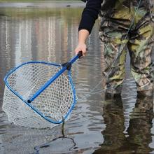 130 см Fly рыболовная сетка Алюминиевый сплав телескопическая складная посадочная сетка полюс для Карповой рыбалки резиновая сетка рыболовные принадлежности